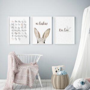 plakat na ścianę szary alfabet