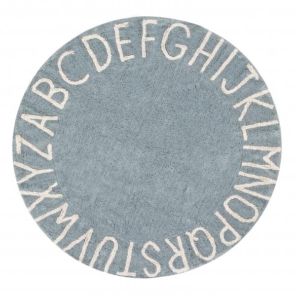 Dywan rniebieski okrągły z alfabetem, round, niebieski do pokoju dziecka lorena canals