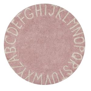 Dywan różowy okrągły z alfabetem, round, różowy do pokoju dziecka lorena canals