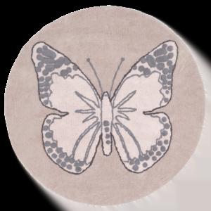 dywan okrągły rózowy z motylem do pokoju dziecka