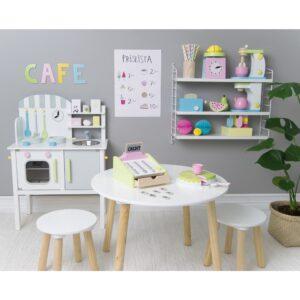 drewniany zestaw jedzenia i napojów, zabawka dla dzieci, zabawa w sklep