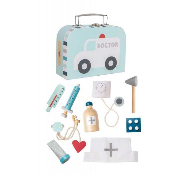 drewniany zestaw lekarski, zabawka dla dzieci