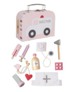 drewniany zestaw dla małego lekarza, zabawka dla dzieci