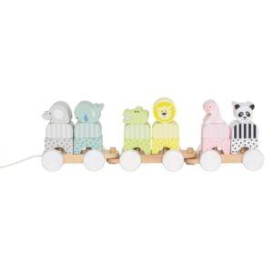 pociąg z klockami safari, drewniana zabawka dla dziecka