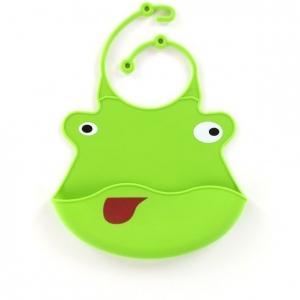 śliniak silikonowy dla dzieci w kształcie żaby