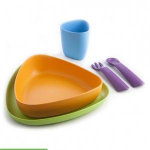 Zestaw obiadowy dla dzieci z bioplastiku, naczynia dla dzieci, kolorowe naczynia