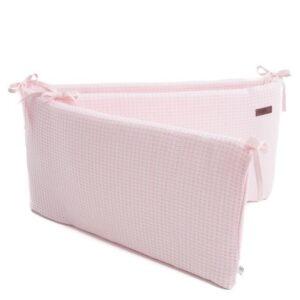 różowy gładki ochraniacz na szczebelki do pokoju dziecka, do łóżeczka, bamboom