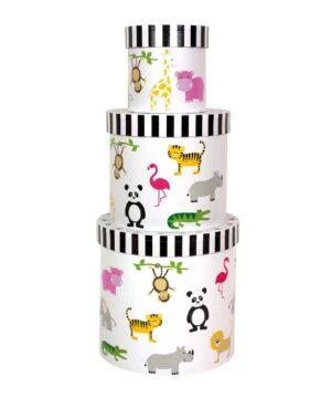 okrągłe pudełka do pokoju dziecka safari