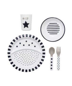zestaw obiadowy czarno biały w gwiazdki