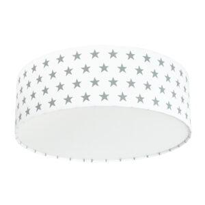 szaro biała lampa do pokoju dziecka w stylu skandynawskim, lampa sufitowa, plafon do pokoju dziecka