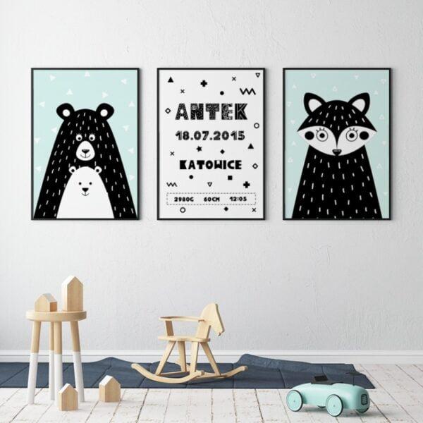 plakat z metryczką do pokoju dziecka