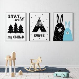 plakat z króliczkiem w stylu skandynawskim