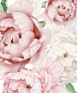 kwiaty na ścianę, naklejki kwiaty, do pokoju dziecka, piwonie, peonie