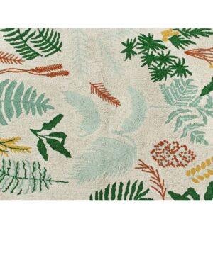 dywan w botaniczne wzory z roślinami da dzieci, do pokoju dziecka