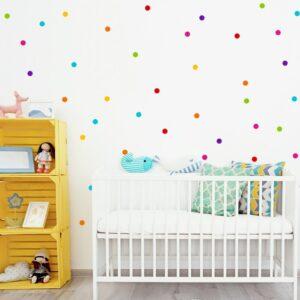 naklejki na ścianę kolorowe groszki