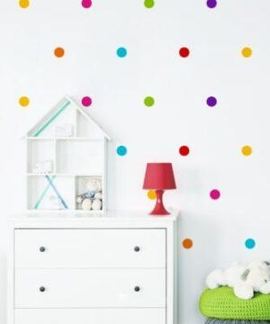 naklejki na ścianę do pokoju dziecka kolorowe groszki duże