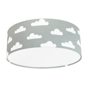 szaro biała lampa do pokoju dziecka w stylu skandynawskim, lampa sufitowa, plafon do pokoju dziecka, lampa w chmurki