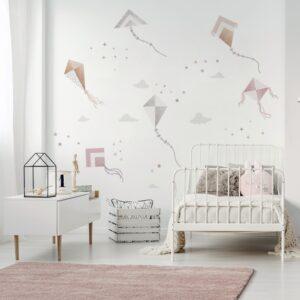 naklejki latawce beżowe do pokoju dziecka, nad łóżeczko