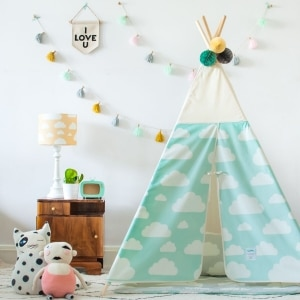 namiot do pokoju dziecka miętowy chmurki