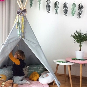 namiot tipi do pokoju dziecka szary