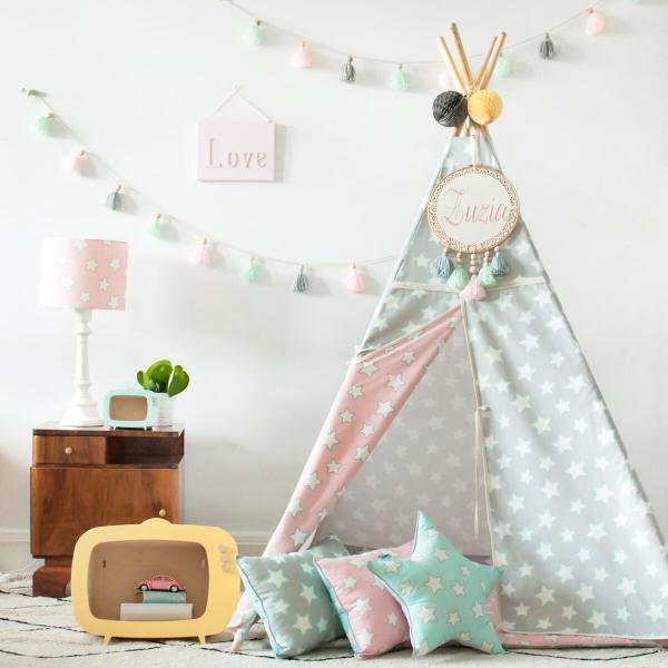 64uB5crA 600x600 - Namiot dla dzieci w gwiazdki szary