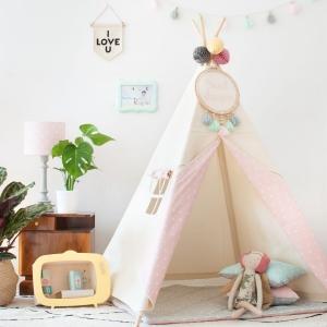 Namiot tipi w kropki jasny z różowym