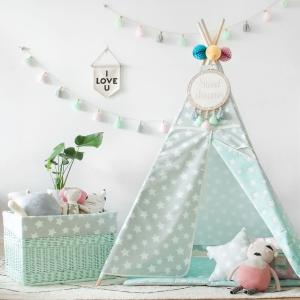 Mata dla niemowląt w gwiazdki szary i miętowy