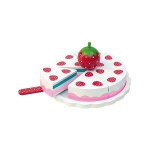 drewniany tort truskawkowy, zabawka dla dzieci