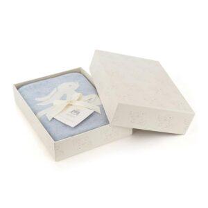 niebieski kocyk w króliczki dla dziecka, pomysł na prezent