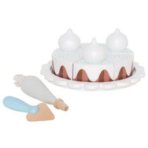 drewniany czekoladowy tort do krojenia, zabawka dla dzieci