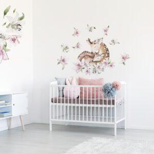 Naklejka na ścianę jelonek z liliami DK380