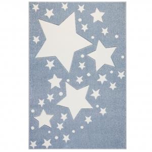 Niebieski dywan dziecięcy z gwiazdkami