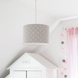 Szara lampa wisząca w kropki do pokoju dziecka
