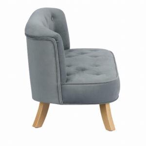 Bok sofa szary krotkie drewniane 300x300 - Sofa dla dzieci szary welur