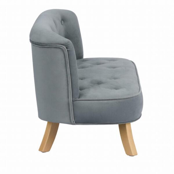Bok sofa szary krotkie drewniane 600x600 - Sofa dla dzieci szary welur
