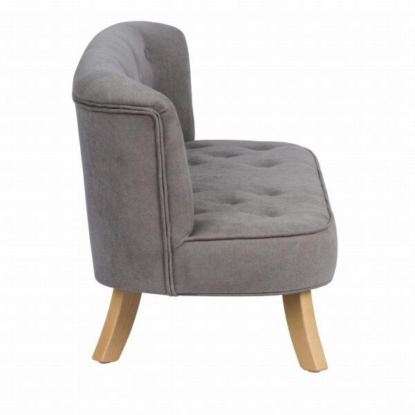 Bok sofa szary misiaczkowy krotkie drewniane 600x600 - Szara sofa dla dziecka