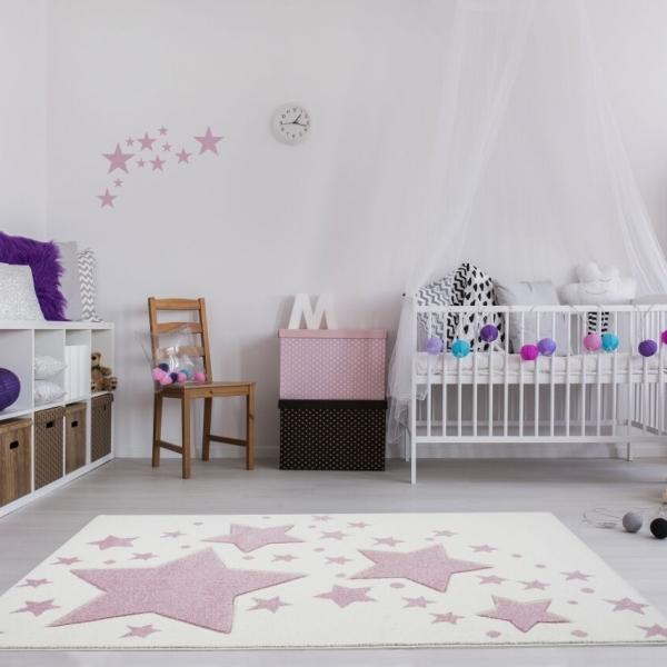 DZwj bag 600x600 - Kremowy dywan w różowe gwiazdki