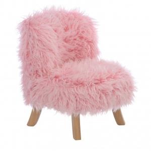 Fotel dziecięcy futrzany różowy