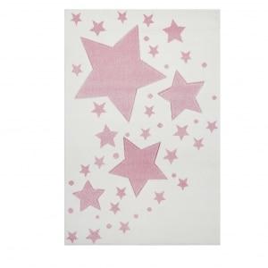 Kremowy dywan w różowe gwiazdki