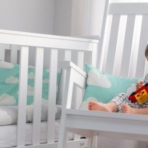 Pościel dla dzieci chmurki miętowy i szary
