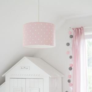 Różowa lampa wisząca w kropki do pokoju dziecka