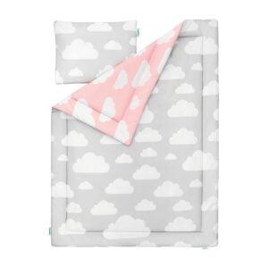 MJzCYGRQ 300x300 - Pościel dla dzieci chmurki różowy i szary 100x135