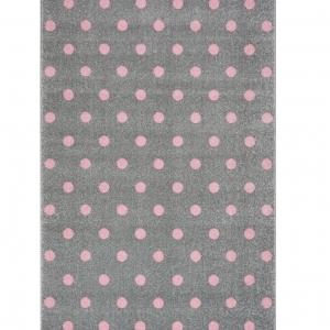 Dywan do pokoju dziecka w różowe kropki