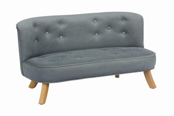 Skos sofa szary krotkie drewniane 600x400 - Sofa dla dzieci szary welur