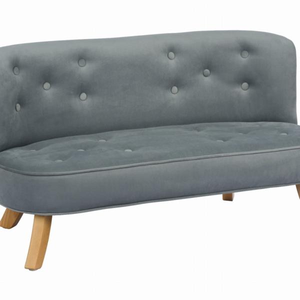 Skos sofa szary krotkie drewniane 600x600 - Sofa dla dzieci szary welur
