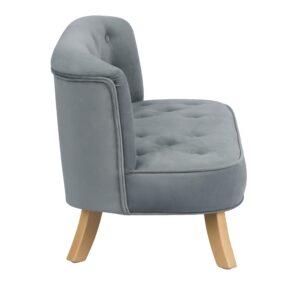 Sofa dla dzieci szary welur