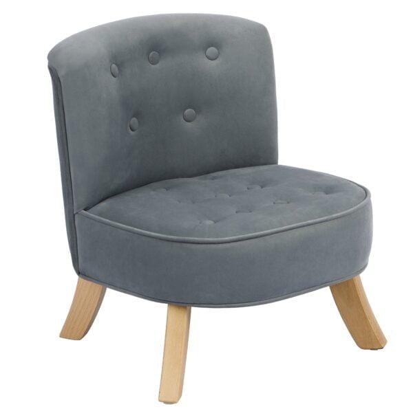 Szary welur Velvet Grey  5  600x598 - Fotel dla dzieci szary welur