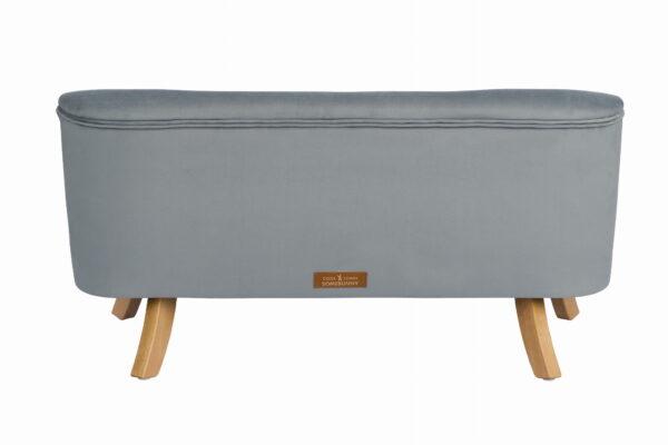 Tyl sofa szary krotkie drewniane 600x400 - Sofa dla dzieci szary welur