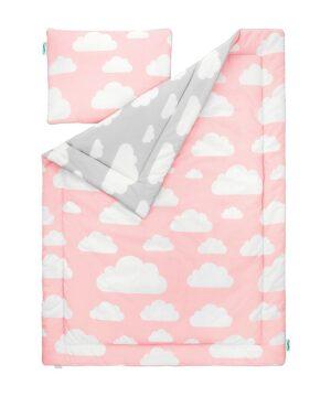 Pościel dla dzieci chmurki różowy i szary