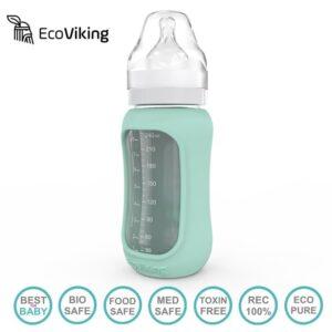 Szklana butelka dla niemowląt 240 ml róż